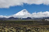 Nature of Kamchatka - beautiful volcanic landscape: view on Kamen Volcano — Stock Photo