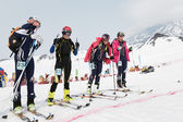 Girls ski mountaineers at the starting line. Team Race ski mountaineering. Russian, Kamchatka — Stock Photo