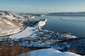 Winter view of Petropavlovsk-Kamchatsky City, Avacha Bay and Pacific Ocean. Russia, Kamchatka — Stock Photo