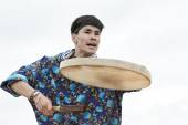 Emotional man dancer dancing with a tambourine. Kamchatka, Russia — Stock Photo