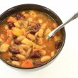 White and Red Kidney Beans Soup herbs seasonings — Stock Photo #52608473