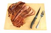 Backed peace Spiral-cut Ham ready for meal serving — Stock Photo