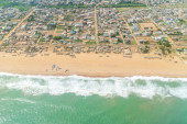 Aerial view of the shores of Cotonou, Benin — Stock Photo