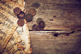 Vintage still life with old coins — Stock fotografie