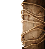 Wooden board with rope — Stock Photo