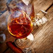 Cognac and cigar — Stock Photo