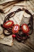 Beautiful handmade necklace — Stock Photo