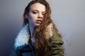 Portrait of young lady with long hair — Stock Photo