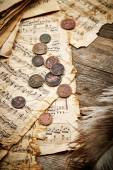 Vintage still life with ancient coins — Stock Photo