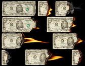 Burning dollars — Stock Photo