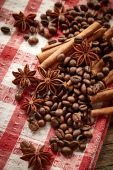 Coffee beans, cinnamon and star anise — Stock Photo