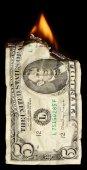 Burning dollar — Stock Photo