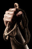 Male hand with rope. Conception aggression — Stock fotografie
