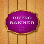 Banner sul backround in legno — Vettoriale Stock