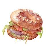 Watercolor bagel, sandwich, vector art — Stock Vector