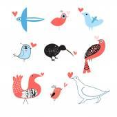 Lovers of birds set  — Stock Vector