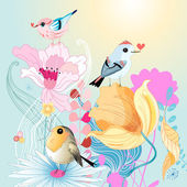 Birds in love on florets  — Stock Vector