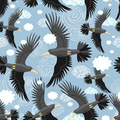 Pattern of the black rooks  — Stock Vector