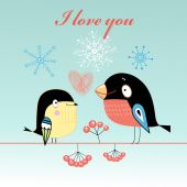 Lovers tit and bullfinch  — Stock Vector