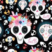Pattern of funny skulls — Stock Vector