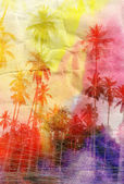Watercolor silhouettes of palm trees — Stockfoto