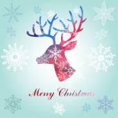 Christmas reindeer silhouette portrait — Stock vektor