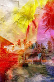 Bright watercolor landscape with palm trees — Stock Photo