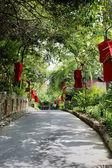 Garden with red lanterns — Stock Photo