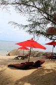 Beautiful beach umbrellas and red — Foto Stock