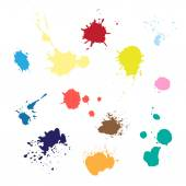 Colored paint splashes — Stock Vector