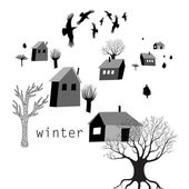 Village and crows in winter — Stock Vector