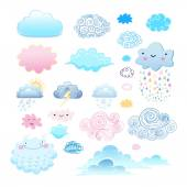 Set of different clouds — Stock Vector