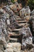 Macro photo of stone stairs — Stock Photo