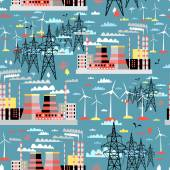 Pattern of thermal and wind power plants and power lines — Stock Vector