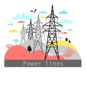 Illustration towers with power lines — Stock Vector