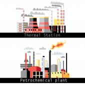 Petrochemical plant and thermal power plant — Vettoriale Stock