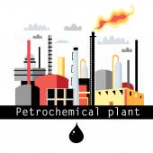 Illustration petrochemical plant — Vector de stock