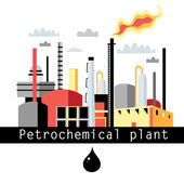 Illustration petrochemical plant — Stok Vektör