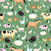 Bright pattern of farm animals — Stock Vector
