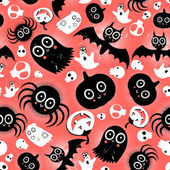 Funny halloween monster pattern — Vector de stock