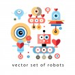Set of funny robots lovers — Stock Vector #63322903