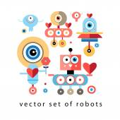 Set of funny robots lovers — Stock Vector