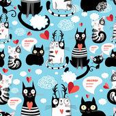 Bright pattern cat lovers — Cтоковый вектор