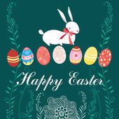 Easter card with rabbit and eggs — Stock Vector