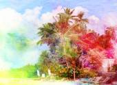 Watercolor landscape with palm trees retro — Stok fotoğraf