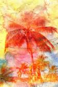 Watercolor silhouettes of palm trees — Stock Photo