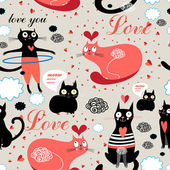 Pattern lovers cats — Stock Vector