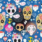 Festive pattern of funny skulls — Stock Vector