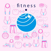 Fitness ball on background — Stockvector