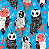 Pattern of owls — Stock Vector